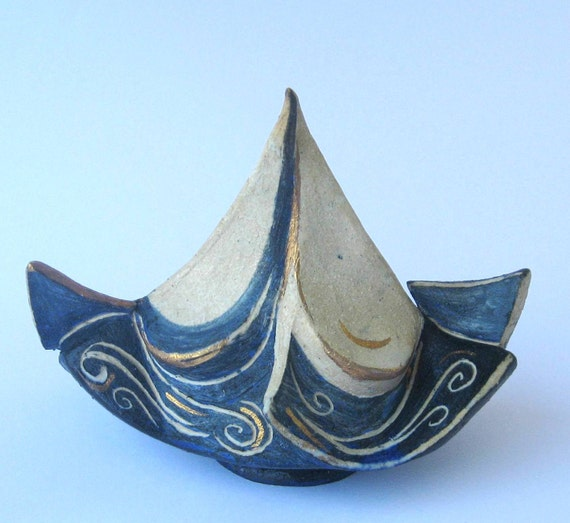 RESERVED FOR MIHARU. Sail boat, ceramic sculpture. Summer home decor.