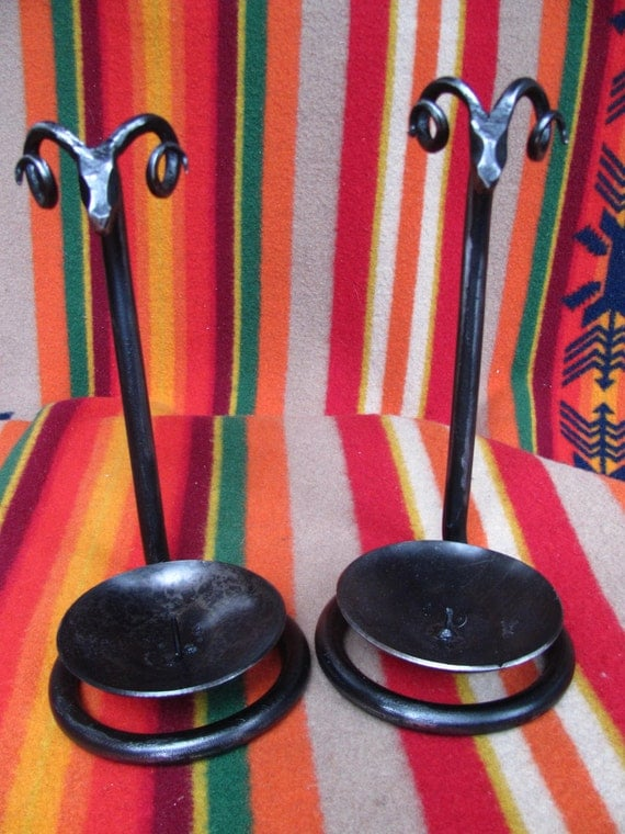 Hand Forged Candle Holders, Pair
