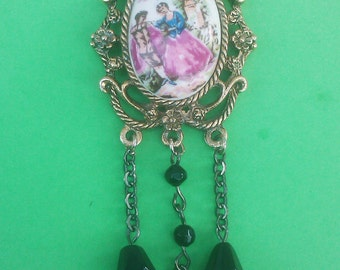 Vintage 1960s Cameo Necklace Black Beads Boho Hippie