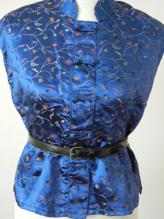 Vintage Cobalt Blue Silk Embroidered Asian Blouse