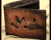 Brown Mens Leather Wallet Double Eagle , Hand Stamped Leather  Wallet Billfold, Cordavan Brown with Brown Nylon stitching