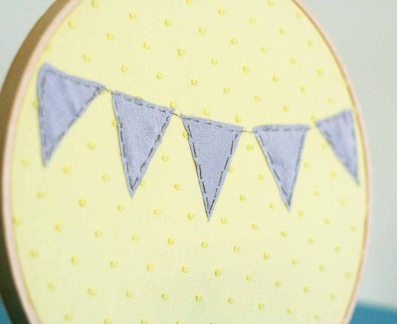 Grey bunting hand sewn hoop art / yellow and gray home decor / sweet garland wall hanging