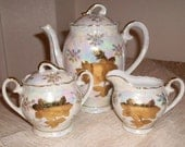 Reserved For Sheila / Vintage Tea Set, Teapot, Sugar and Creamer / Sterling China Japan