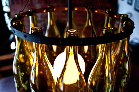 Items similar to 16 recycled chardonnay wine bottle for How to make a bottle chandelier