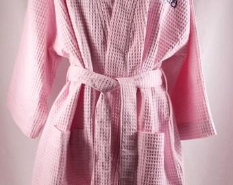 Personalized Robe Waffle Weave Kimono Pink Monogrammed