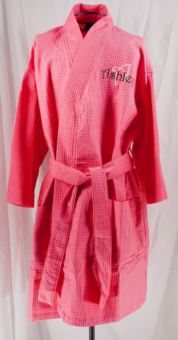 Personalized Robe, Hot Pink Bridesmaids Gifts, Waffle Weave Robes, Wedding Party Robes, Shower Gift, Personalized Gift,Monogrammed Robe