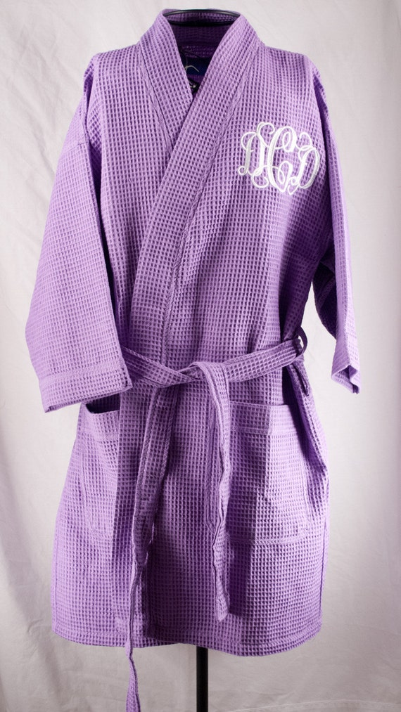 Personalized Waffle Weave Kimono Thigh Length Spa Purple Lilac Robe Monogrammed