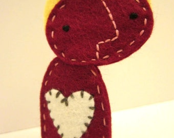 Simple Wool Felt Finger Puppet With Heart and Halo