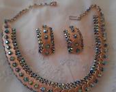 Gold-Tone Turquoise Aurora Borealis Rhinestone Flex Necklace and Clip Earrings