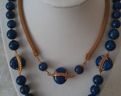 Signed Mariam Haskell Blue Cabochon Necklace and Clip Earring Set  Vintage Designer Jewelry
