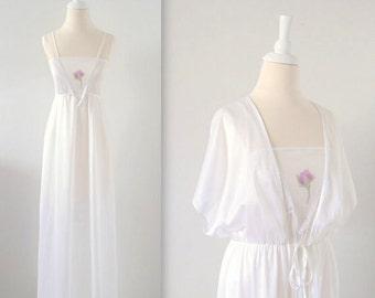 Vintage 1970s White Nightgown Peignoir Robe Set - Small Medium by Vico Viola