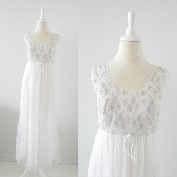 Vintage Chiffon Nightgown - Bridal White - 1960s - Small - Unworn Deadstock