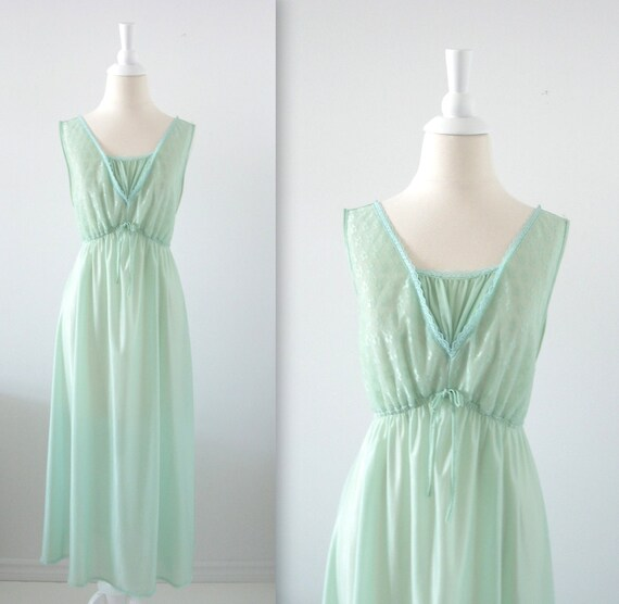 On Reserve Vintage Long Nightgown - 1970s Sage Green Chiffon - Medium Large