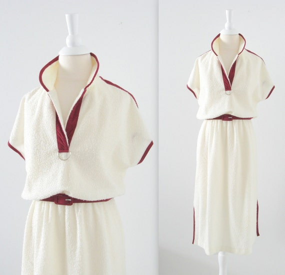 On Reserve Vintage Boucle Shirt Dress - 1970s Cream and Burgundy - Medium Large by Sears