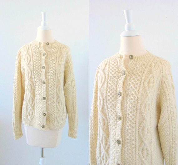 Vintage 1970s Wool Cable Knit Cardigan Sweater in Cream  - Large x Large