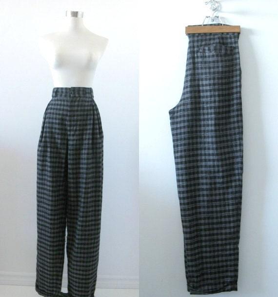 Vintage Versace Dress Pants - Designer - High Waisted Wool -1980s Medium Large