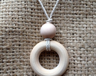 Simple Petite Natural Birch Wood Teething Necklace / Nursing Necklace on Organic Cord Necklace (Adjustable) - SHIPS FREE with any other item