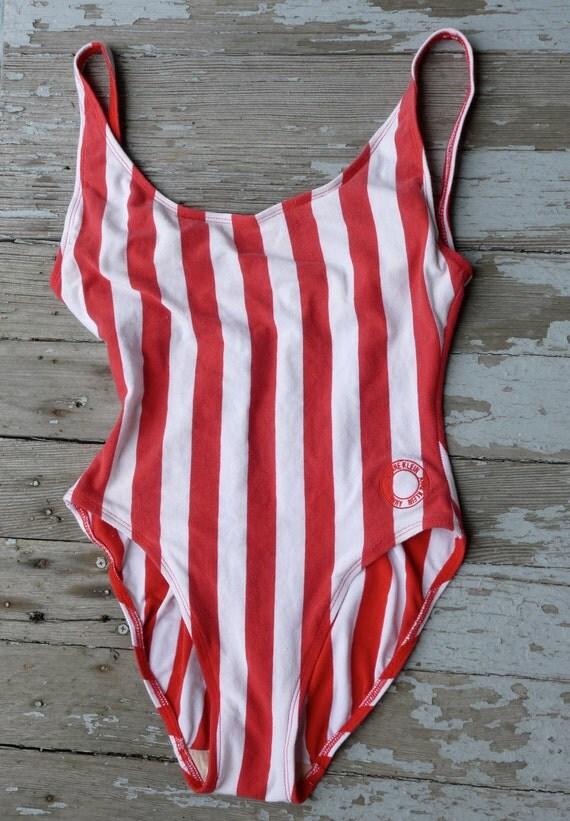 1980s Peppermint Stripe Anne Klein Bathing Suit One Piece