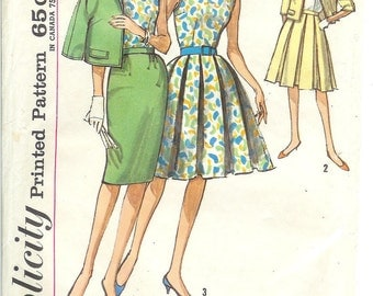 Vintage 1960's Simplicity 4890 Rockabilly & Wiggle Skirt With Blouse and Jacket Size 14