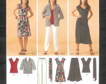Simplicity 3506 Misses' V Neck, Capped Sleeve Dress, And Top With Elastic Waist Skirt, And Pants, And Jacket, Sizes, 10 to 18  UNCUT