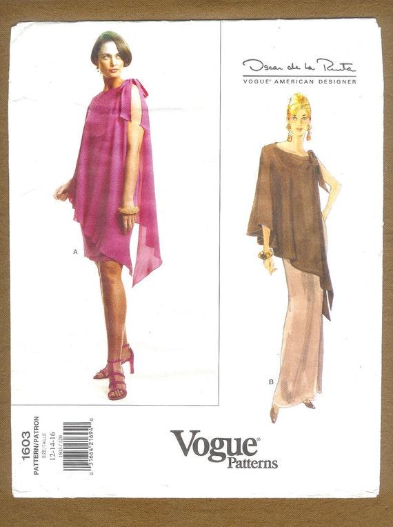 Vogue 1603 American Designer Oscar de la Renta Cocktail Dress Misses' Sizes 12, 14, 16 UNCUT