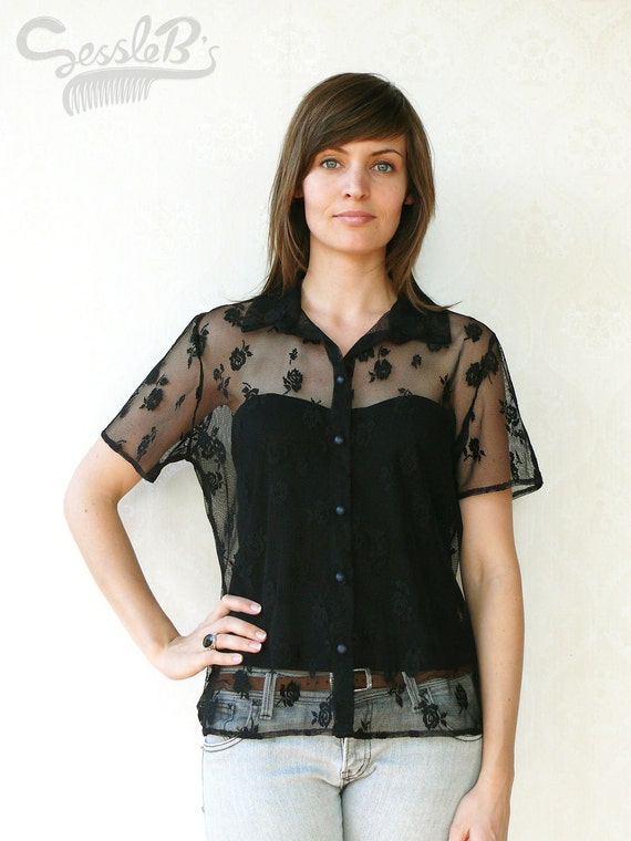 """Vintage floral lace collared top, small medium - black . . . . . . . . """"Like"""" our fb page for 10% discount"""