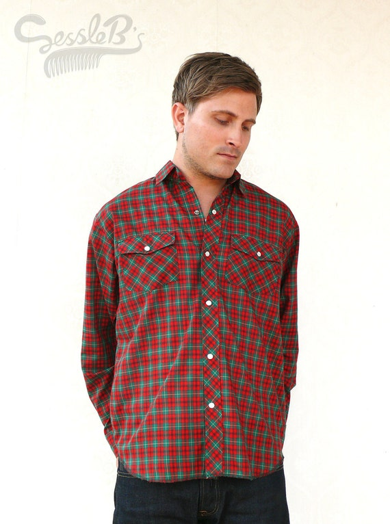 """Vintage mens western long sleeved shirt - red and green check . . . """"Like"""" our fb page for 10% discount"""