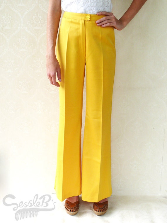 "SALE - Original 1960s vintage bell bottom flares, small - gold yellow . . . . ""Like"" our fb page for 10% discount"