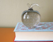 Vintage Glass Apple Paperweight, Fall Decorating