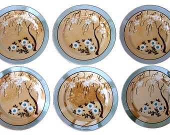 Vintage Lusterware Weeping Cherry Tree Plates, Set of Six