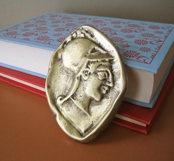 Vintage Brass Ancient Greek Coin Paperweight