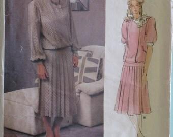 Vintage Vogue Dress Sewing Pattern American Designer Original Albert Nipon Size 14 Misses' -  Uncut 1980's