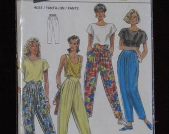 Vintage Burda Sewing Pattern Misses Pants Super Easy Sew 1980's Fashion Size 8-20 Uncut New