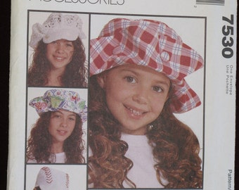 McCalls Fashion Sewing Pattern Great HATS for Girls Children New unuct Dated 1995