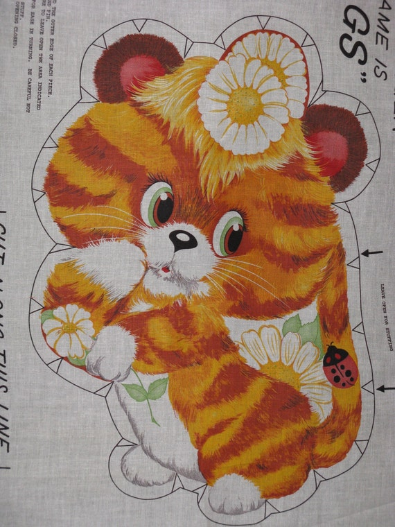 Vintage Fabric Baby Tiger Cat Cut Out Panel 1950 S