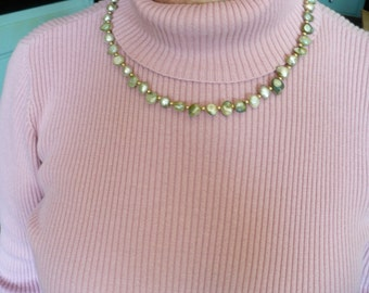 """Faux Aqua Fresh Water Pearl and Gold Plate Bead 20"""" Necklace"""
