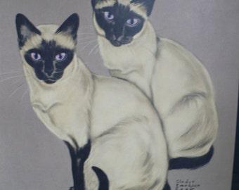 Gladys Emerson Cook Siamese Cats Print