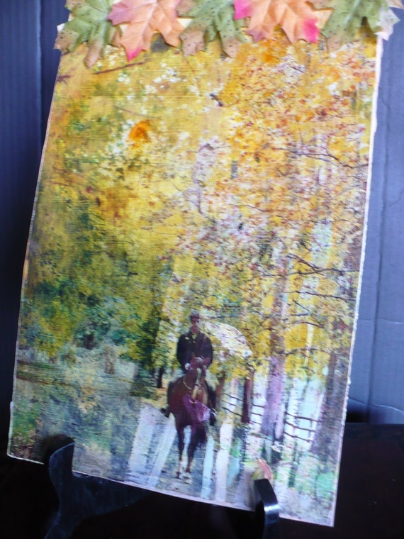 Original Painting Mixed Media Through the Woods-- original painting on Masonite with overhead transparency overlay