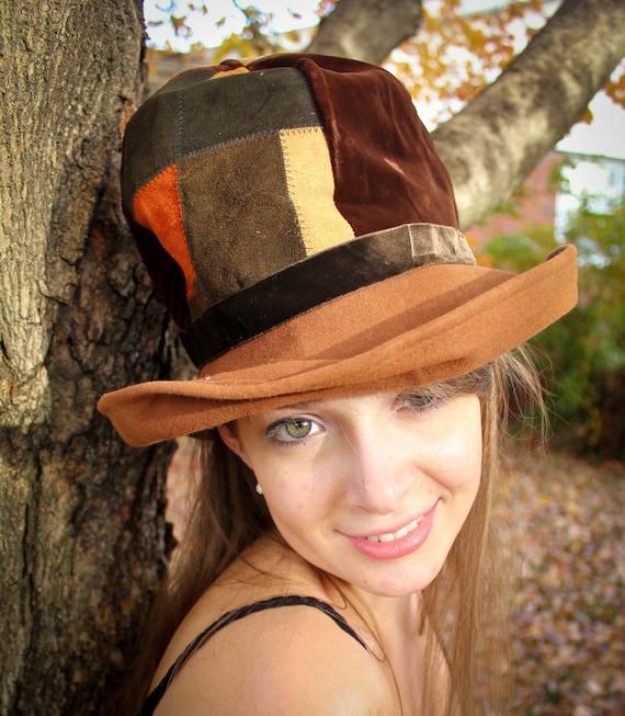 1960s Mod Patchwork Bucket Hat in Orange and Brown Suede and Velvet