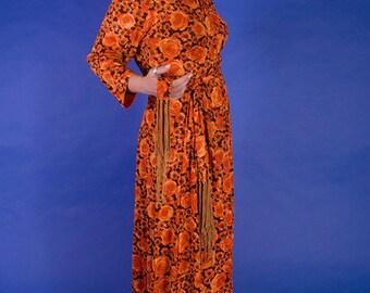 SALE // Orange You A Dream 1970s Vintage Tlobert Floral Hippie Maxi Dress With Original Tapestry Belt Sz Medium