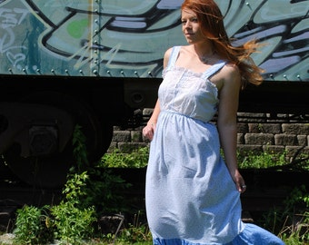 Dreams Of Gleam 1970s Vintage Handmade Light Blue And White Floral Lace Maxi Dress Sz Medium / Large