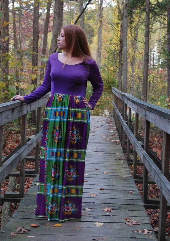 Woodstock Wanna Be 1970s Vintage Purple And Floral Maxi Hippie Dress Sz 18 / Large / Extra Large