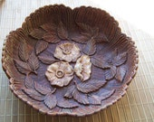"""RESERVED4SALE Vintage 50's """"CARLSBAD CARAVANS"""" Scalloped Textured Candy or Nut Dish Bowl with Trio of Flower with Leaves"""