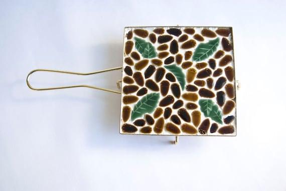 Acorns Mosaic Tile Trivet Mid Century Kitchen Brown and Green Tile