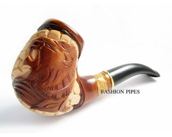 """Fashion GIFT SET - Tobacco Pipe & Stand, Smoking Pipe-Pipes Wooden pipe-pipes of Pear Root, Wood Pipe """"LION"""" Handcrafted Pipe, Stand Free"""