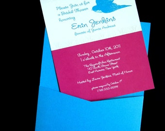 Printable Bridal Shower Invite - Damask Pattern and Bird