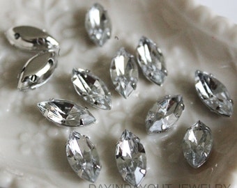 30pcs  7mmX15mm Lead and Nickel Free SewOn Boat Acrylic Crystal With Rhodium Plated Metal cap for Jewelry, accessory and clothing