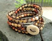 Earthy wrap bracelet beaded leather wrap bohemian jewelry