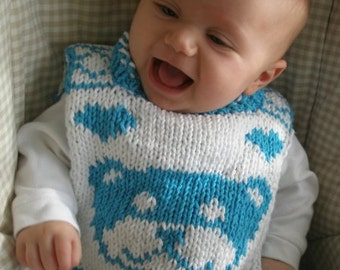 "FUNDRAISER - Reversible baby bib (""Teddy for Tots"") knitting pattern (PDF)"