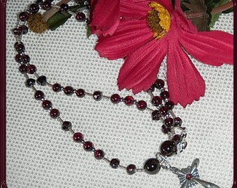Garnet and Sterling Silver CROSS on Handmade Beaded Chain with Garnets & Antiqued Sterling CHRISTIAN Jewelry January Birthstone Beautiful